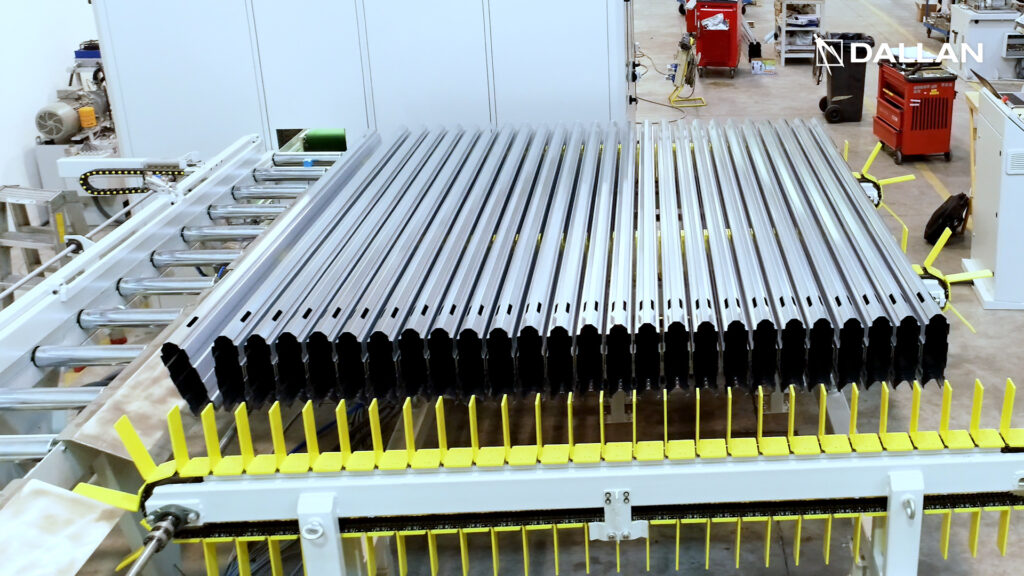 profiles are produced, they are stacked on special conveyors